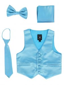 Lito Big Boys Aqua Satin Vest Zipper Tie Hanky Bowtie Clothing Set 8-14