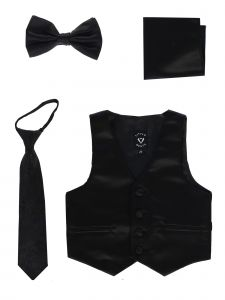 Lito Baby Boys Black Satin Vest Zipper Tie Hanky Bowtie Clothing Set 3-24M