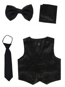 Lito Big Boys Black Paisley Satin Vest Zipper Tie Hanky Bowtie Set 8-14