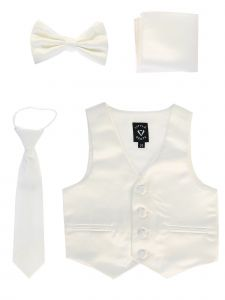 Lito Baby Boys Ivory Satin Vest Zipper Tie Hanky Bowtie Clothing Set 3-24M