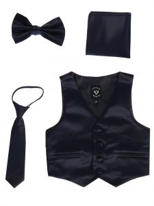 Lito Baby Boys Navy Satin Vest Zipper Tie Hanky Bowtie Clothing Set 3-24M