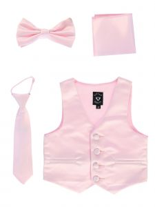 Lito Big Boys Pink Satin Vest Zipper Tie Hanky Bowtie Clothing Set 8-14