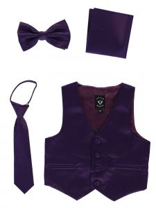 Lito Big Boys Purple Satin Vest Zipper Tie Hanky Bowtie Clothing Set 8-14