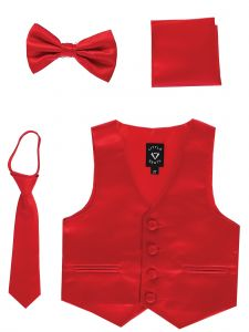 Lito Big Boys Red Satin Vest Zipper Tie Hanky Bowtie Clothing Set 8-14