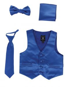Lito Big Boys Royal Blue Satin Vest Zipper Tie Hanky Bowtie Clothing Set 8-14