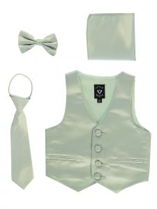Lito Big Boys Sage Satin Vest Zipper Tie Hanky Bowtie Clothing Set 8-14