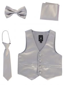Lito Big Boys Silver Satin Vest Zipper Tie Hanky Bowtie Clothing Set 8-14