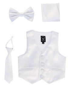 Lito Big Boys White Satin Vest Zipper Tie Hanky Bowtie Clothing Set 8-14