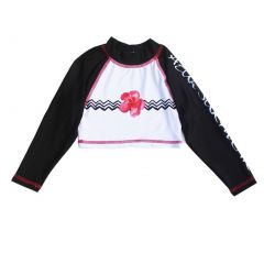 Azul Girls Pink Black Floral Chevron Stripe Hula Girl Crop Rash Guard 4-14