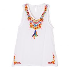 Azul Little Girls White Multi Color Floral Pocahontas Sleeveless Tunic 2T-7