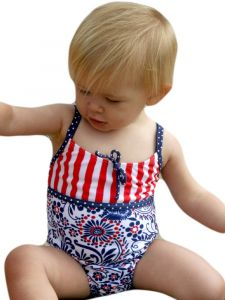Azul Little Girls Blue White Red Born Free Spagetti Strap 1 Pc Swimsuit 2T