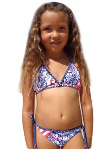 Little Girls Blue White Red Born Free Triangle Bikini 2 Pc Swimsuit 4-5