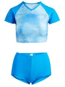 Deep Blue Swim Missy Blue Shimmer 2 Piece Rash Guard Set Juniors 5-13