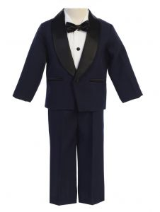 Lito Big Boys Navy Black Jacket Pants Shirt Bowtie 4 Pc Tuxedo 8-12