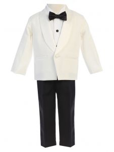 Lito Baby Boys Ivory Black Jacket Pants Shirt Bowtie 4 Pc Tuxedo 12-24M