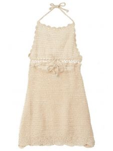 Azul Big Girls Ivory Hand Crochet Functional Drawstring Moondance Dress 8-14