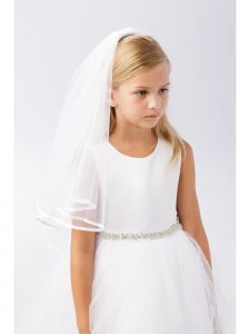 Girls Ivory Satin Bias Detail Elegant Bridal Flower Girl Communion Veil