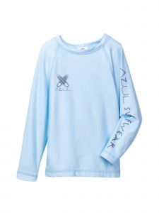 Azul Unisex Little Kids Light Blue Solid Color Long Sleeve Rash Guard 2T-7