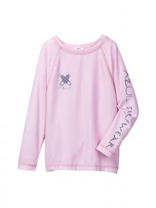 Azul Little Girls Pink Solid Color Surf Board Long Sleeve Rash Guard 2T-7