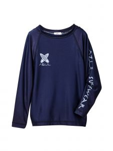 Azul Baby Boys Navy Solid Color Logo Detail Long Sleeve Rash Guard 6-24M