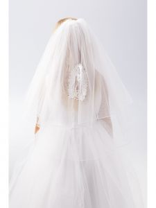 Girls White Virgin Mary First Rhinestone Stylish First Communion Veil