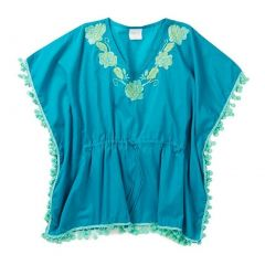 Azul Little Girls Turquoise Floral Embroidered Pompom Detail Kaftan 2T-7