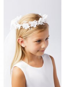 Girls White Stylish Floral Decorated Crown Communion Flower Girl Veil