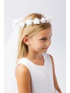 Girls White Beautiful Floral Ornate Crown Communion Flower Girl Veil