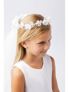 Girls White Shiny Glitter Floral Ornate Crown Communion Flower Girl Veil