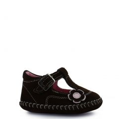 Rilo Little Girls Brown Floral Applique Leather Bootie Shoes 5-6 Toddler