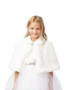 Baby Girls White Plush Fur Glitter Single Button Closure Elegant Cape 6-24M