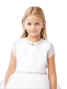 Big Girls White Short Sleeved Button Closure Organza Bolero Jacket 8-14