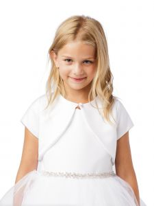 Big Girls White Short Sleeved One Button Closure Satin Bolero Jacket 8-14