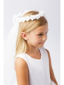 Girls White Rhinestone Floral Ribbon Back Crown Communion Flower Girl Veil