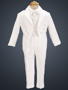 Boys White Special Occasion Formal Paisley Detail Tuxedo Suit Set 2T-7