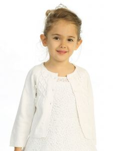 Baby Girls Ivory Grosgrain Ribbon Accents Cotton Long Sleeve Bolero 3-24M