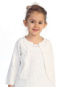 Baby Girls White Grosgrain Ribbon Accents Cotton Long Sleeve Bolero 3-24M