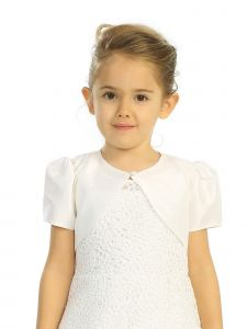 Little Girls Ivory Single Button Short Sleeve Taffeta Bolero Jacket 2-6