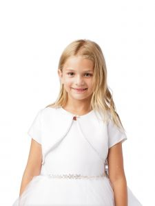 Little Girls White Short Sleeved Rhinestone Trim Satin Bolero Jacket 4-6