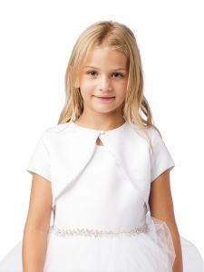 Little Girls White Short Sleeved Pearl Embellished Satin Bolero Jacket 4-6