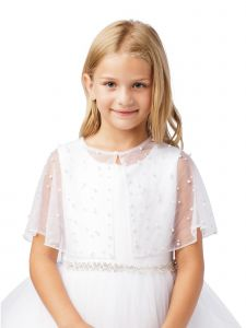 Girls White Pearl Embellished Translucent Elegant Mesh Cape 5-16