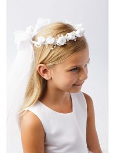 Girls White Sparkle Floral Ribbon Back Crown Communion Flower Girl Veil