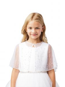 Girls White Bead Work Embellished Translucent Elegant Mesh Cape 5-16