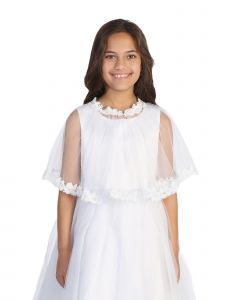 Tip Top Kids Big Girls White Floral Embroidered Lace Tulle Cape 8-16