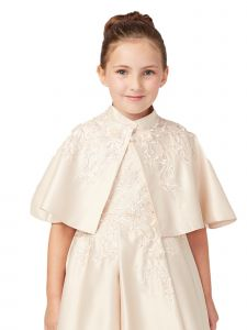 Tip Top Kids Little Girls Champagne Satin Floral Embroidered Applique Cape 2-14
