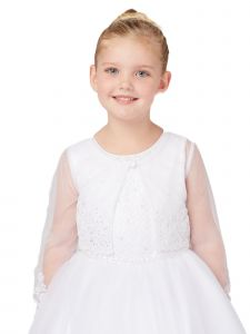 Tip Top Kids Big Girls White Soft Mesh Long Sleeves Lace Bolero 8-16
