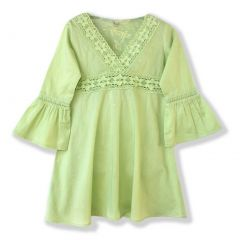 Azul Big Girls Green Lace Detail Flared Cuffs Long Sleeve Tunic Cover Up 8-14