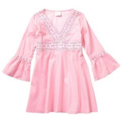 Azul Little Girls Pink Lace Detail Flared Cuffs Tunic Cover Up 2T-7