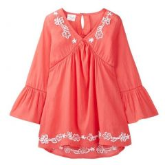 Azul Big Girls Coral Bell Sleeve Embroidered Cotton Tunic Cover Up 8-14