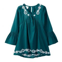 Azul Big Girls Slate Blue Bell Sleeve Embroidered Tunic Cover Up 8-14